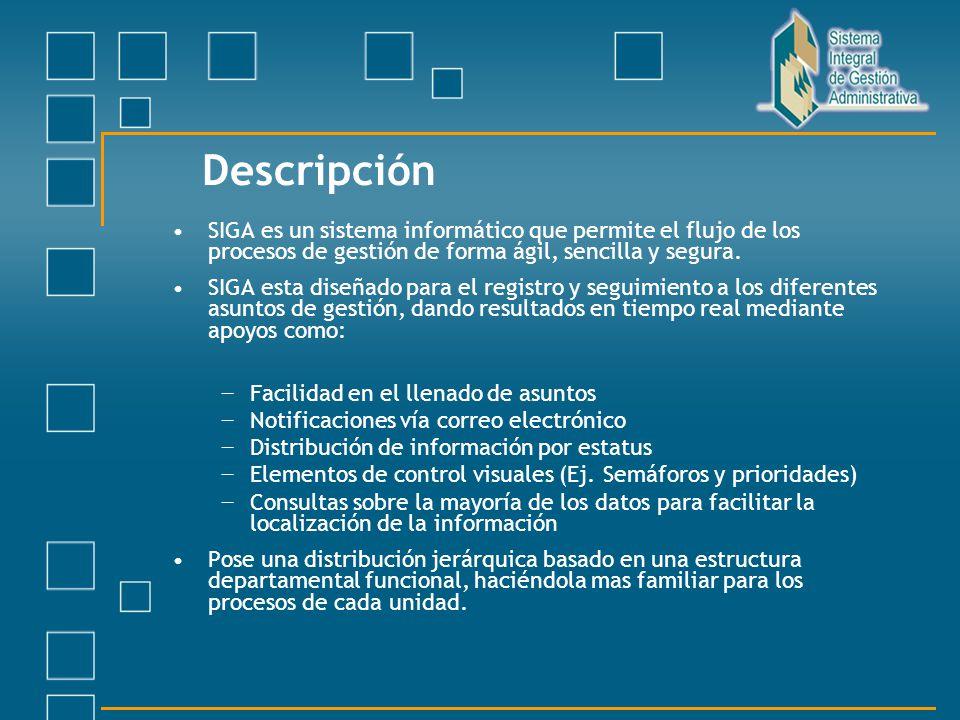 Descripción SIGA es un sistema informático que permite el flujo de los procesos de gestión de forma ágil, sencilla y segura. SIGA esta diseñado para e