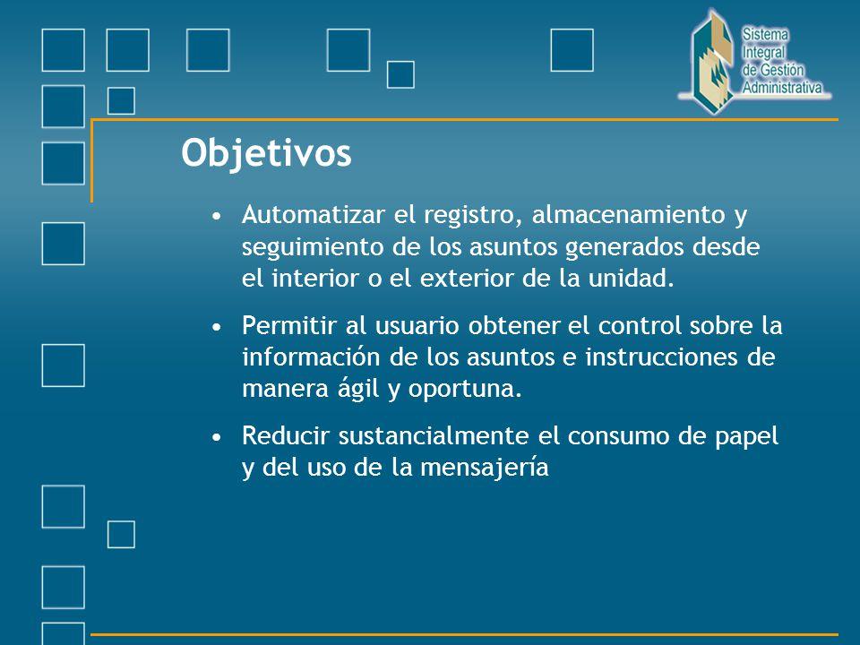 Objetivos Automatizar el registro, almacenamiento y seguimiento de los asuntos generados desde el interior o el exterior de la unidad. Permitir al usu