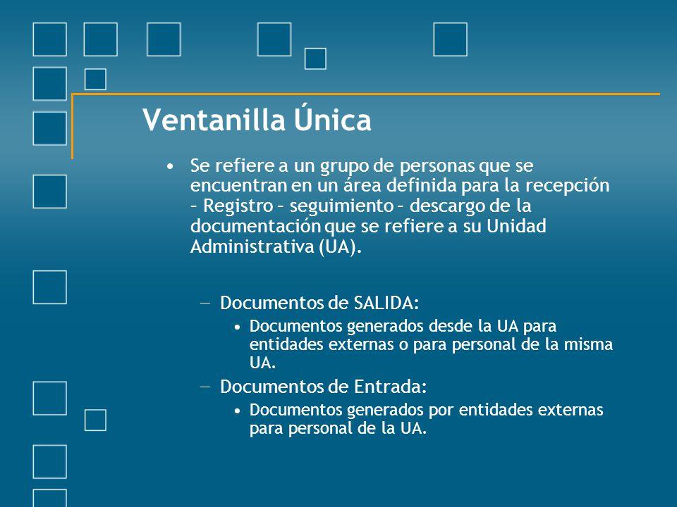 Ventanilla Única Se refiere a un grupo de personas que se encuentran en un área definida para la recepción – Registro – seguimiento – descargo de la d