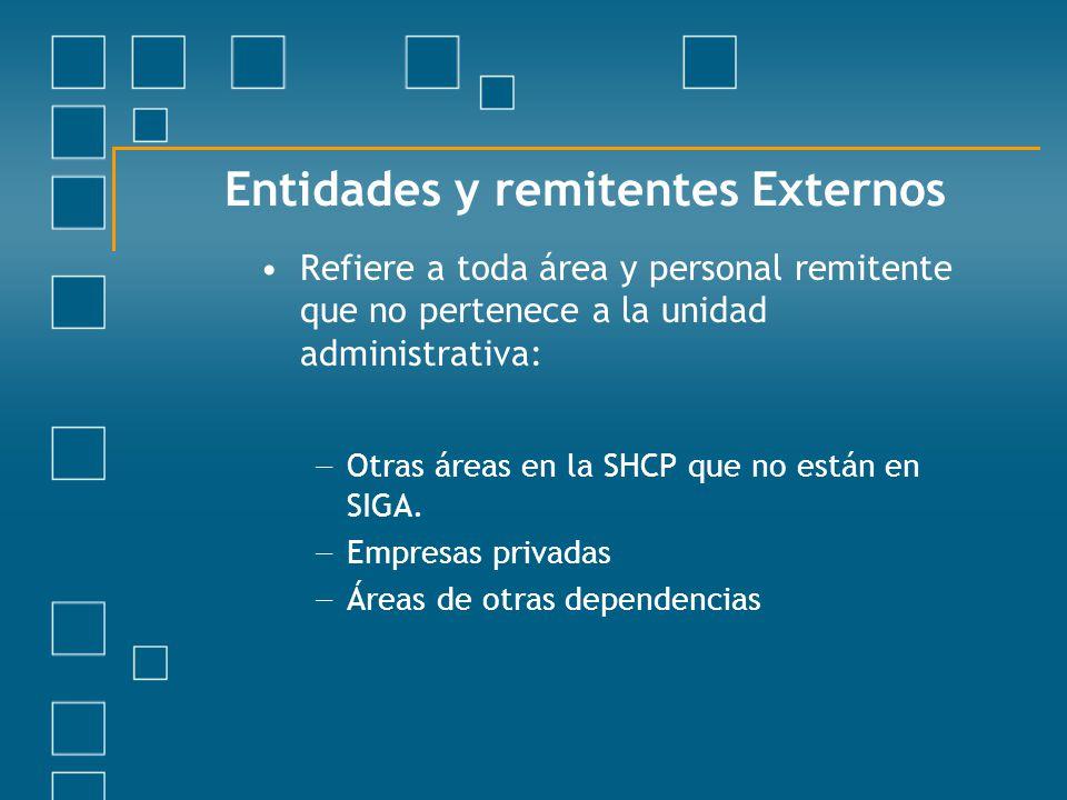 Entidades y remitentes Externos Refiere a toda área y personal remitente que no pertenece a la unidad administrativa: Otras áreas en la SHCP que no es
