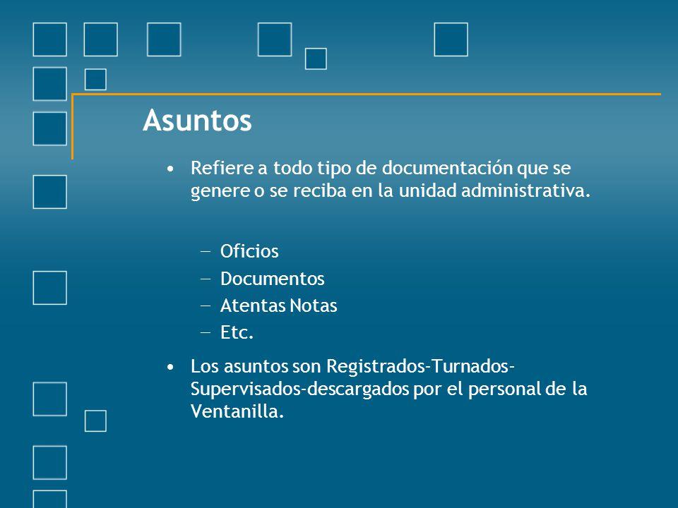 Asuntos Refiere a todo tipo de documentación que se genere o se reciba en la unidad administrativa. Oficios Documentos Atentas Notas Etc. Los asuntos