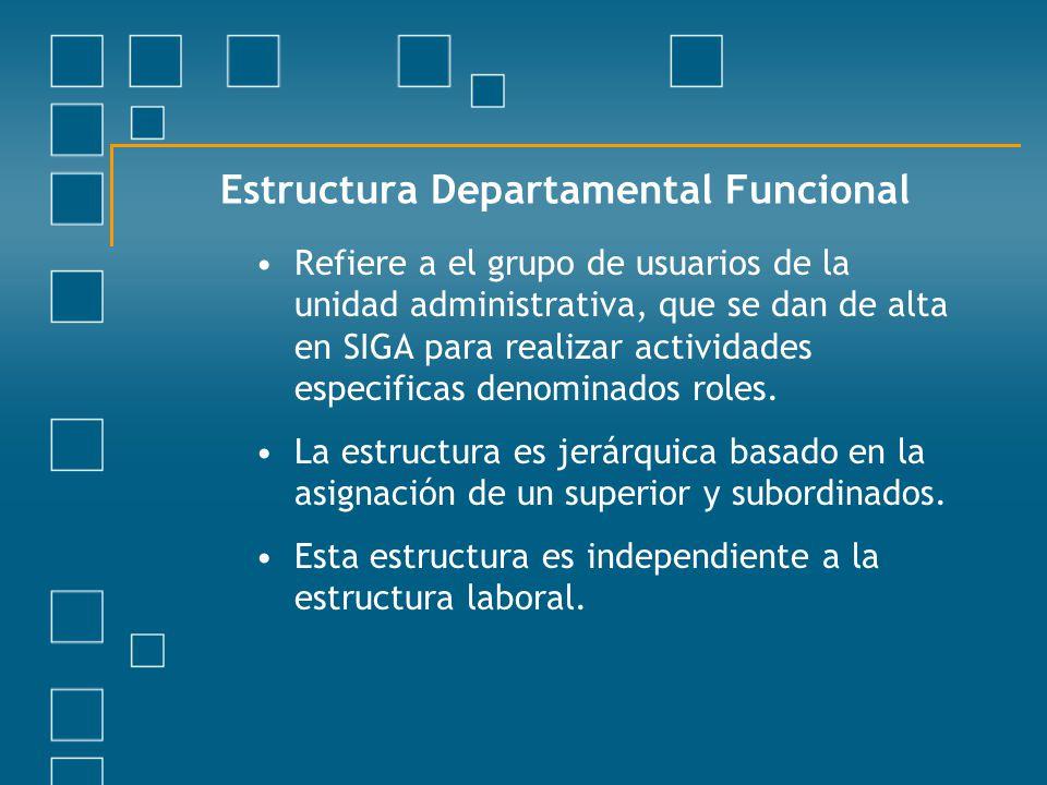 Estructura Departamental Funcional Refiere a el grupo de usuarios de la unidad administrativa, que se dan de alta en SIGA para realizar actividades es