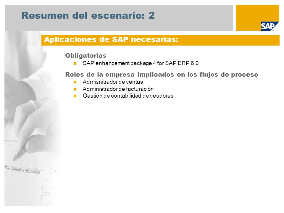 Resumen del escenario: 2 Obligatorias SAP enhancement package 4 for SAP ERP 6.0 Roles de la empresa implicados en los flujos de proceso Admisnitrador