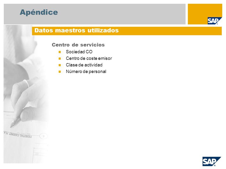 Apéndice Centro de servicios Sociedad CO Centro de coste emisor Clase de actividad Número de personal Datos maestros utilizados