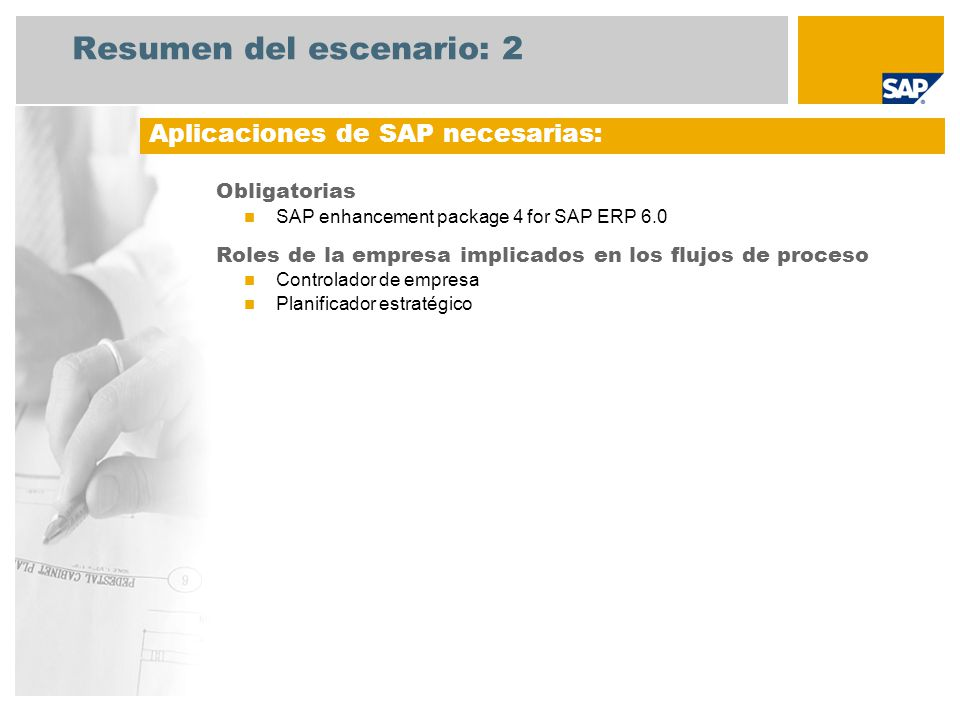 Resumen del escenario: 2 Obligatorias SAP enhancement package 4 for SAP ERP 6.0 Roles de la empresa implicados en los flujos de proceso Controlador de