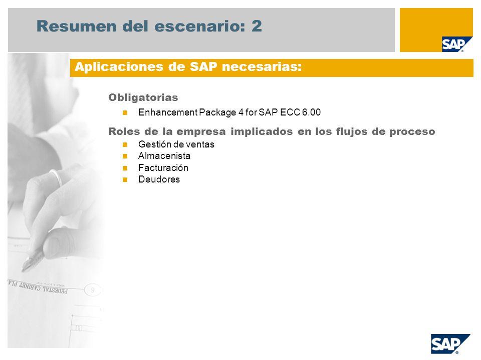 Resumen del escenario: 2 Obligatorias Enhancement Package 4 for SAP ECC 6.00 Roles de la empresa implicados en los flujos de proceso Gestión de ventas Almacenista Facturación Deudores Aplicaciones de SAP necesarias: