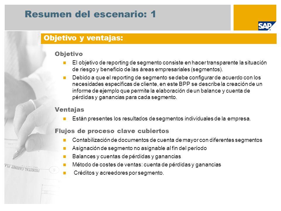 Resumen del escenario: 1 Objetivo El objetivo de reporting de segmento consiste en hacer transparente la situación de riesgo y beneficio de las áreas
