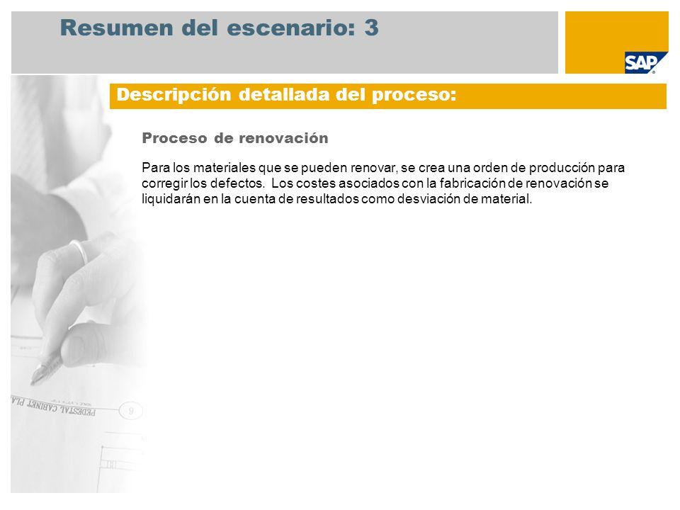 Resumen del escenario: 3 Proceso de renovación Para los materiales que se pueden renovar, se crea una orden de producción para corregir los defectos.