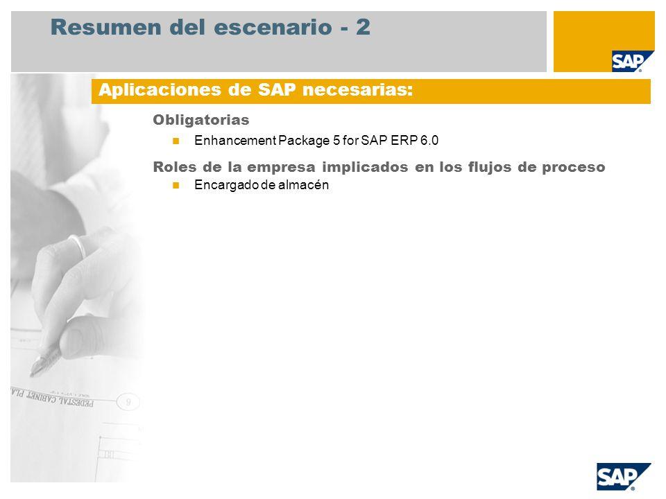 Resumen del escenario - 2 Obligatorias Enhancement Package 5 for SAP ERP 6.0 Roles de la empresa implicados en los flujos de proceso Encargado de alma