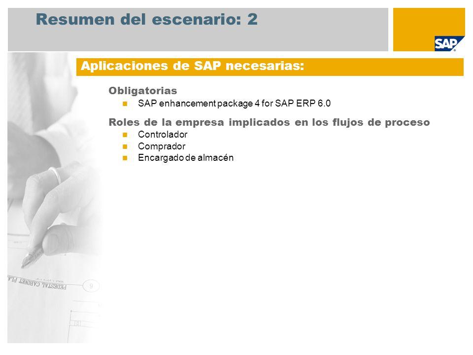 Resumen del escenario: 2 Obligatorias SAP enhancement package 4 for SAP ERP 6.0 Roles de la empresa implicados en los flujos de proceso Controlador Comprador Encargado de almacén Aplicaciones de SAP necesarias: