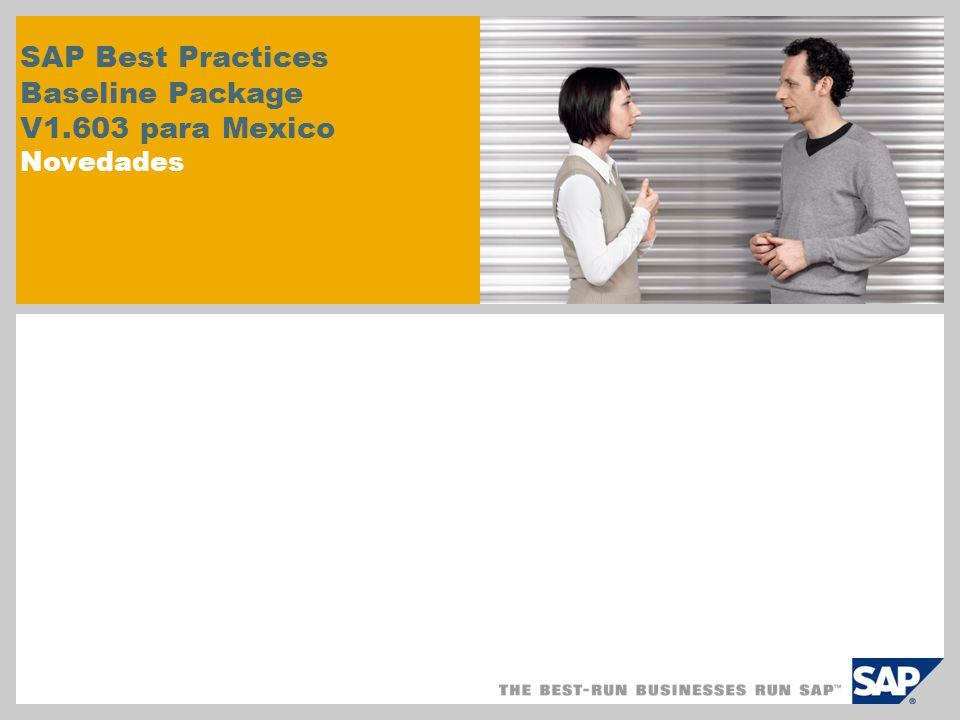 SAP Best Practices Baseline Package Descripciones de datos maestros SAP Best Practices Baseline Package se entrega con valores estándar para distintos alcances de niveles de entrada, como Servicios, Comercialización o Fabricación.
