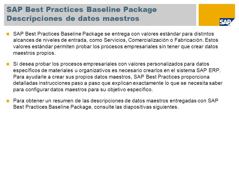 SAP Best Practices Baseline Package Descripciones de datos maestros SAP Best Practices Baseline Package se entrega con valores estándar para distintos