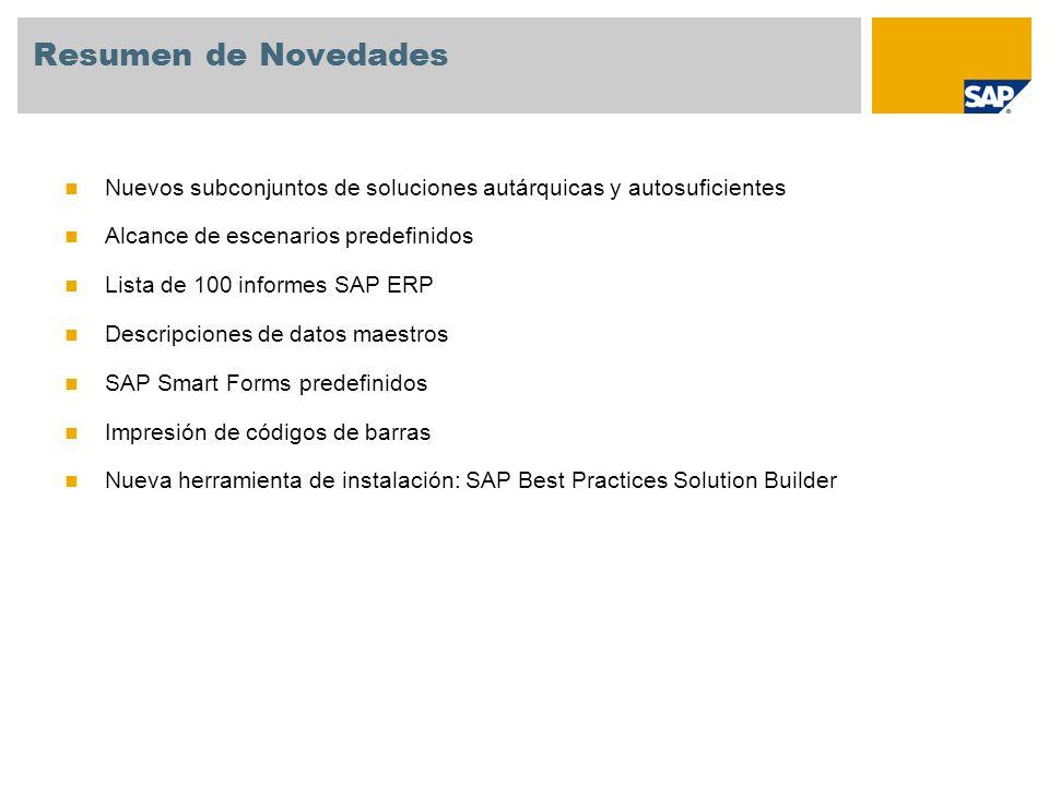 SAP Best Practices Baseline Package: nuevos subconjuntos de soluciones autárquicas y autosuficientes El paquete SAP Best Practices Baseline Package contiene varios escenarios predefinidos que cubren todas las divisiones clave (Contabilidad externa, Controlling, Ventas, Producción, Aprovisionamiento, Servicio).
