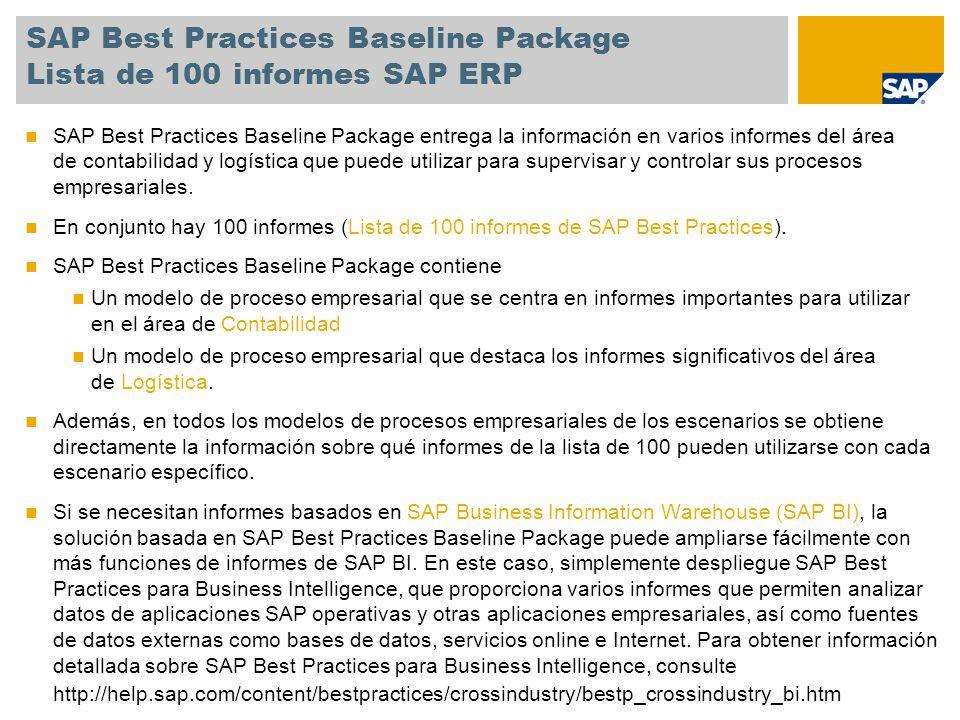 SAP Best Practices Baseline Package Lista de 100 informes SAP ERP SAP Best Practices Baseline Package entrega la información en varios informes del ár