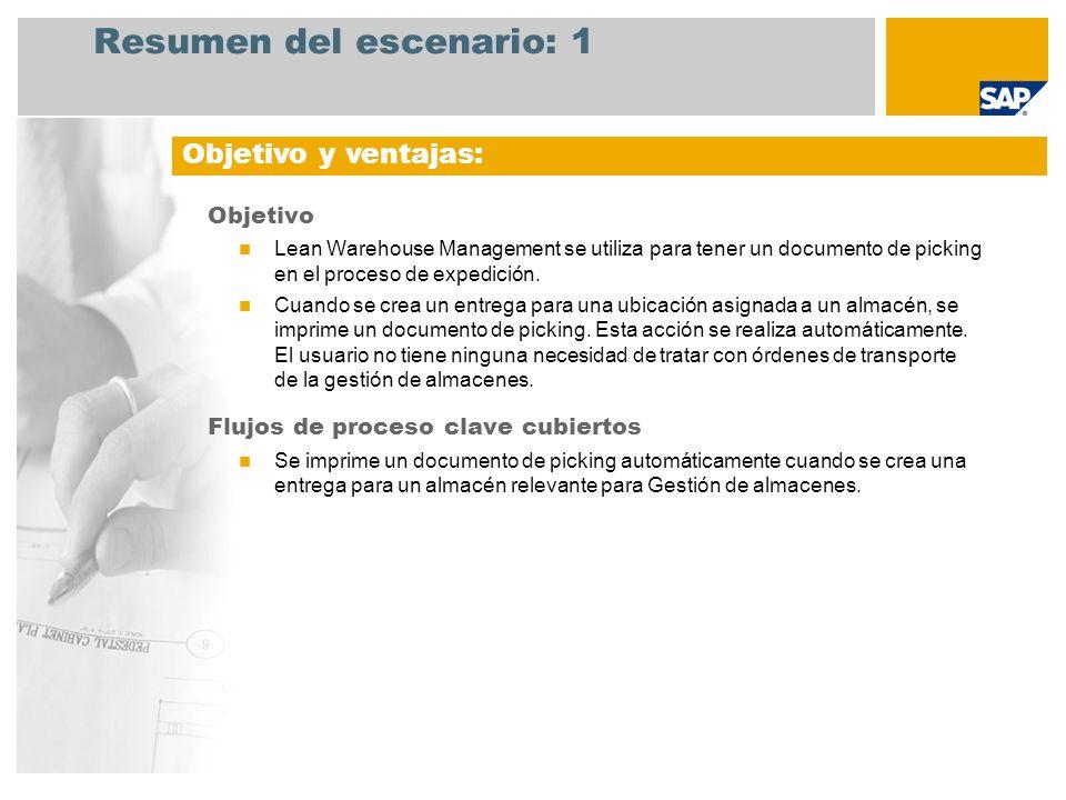 Resumen del escenario: 1 Objetivo Lean Warehouse Management se utiliza para tener un documento de picking en el proceso de expedición. Cuando se crea