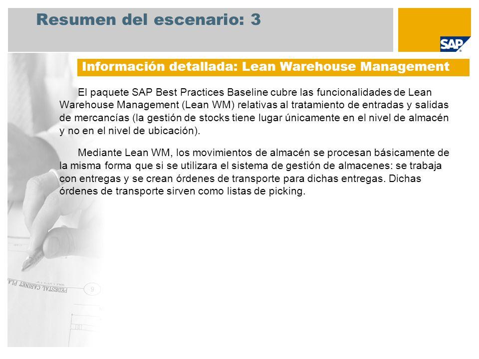 Resumen del escenario: 3 El paquete SAP Best Practices Baseline cubre las funcionalidades de Lean Warehouse Management (Lean WM) relativas al tratamie