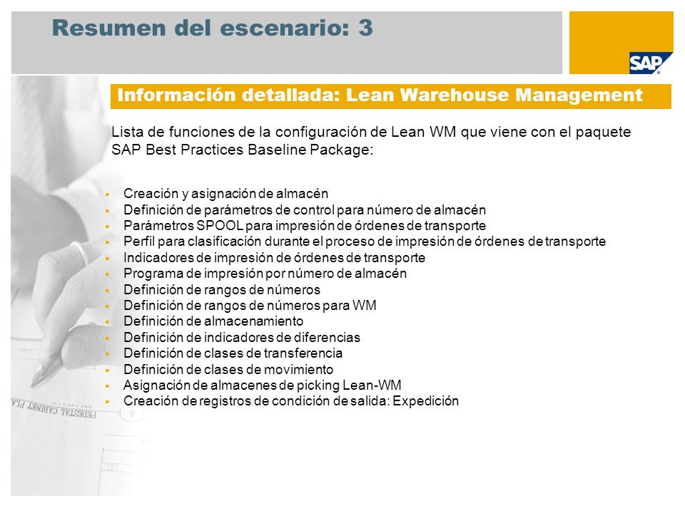 Resumen del escenario: 3 Lista de funciones de la configuración de Lean WM que viene con el paquete SAP Best Practices Baseline Package: Información d