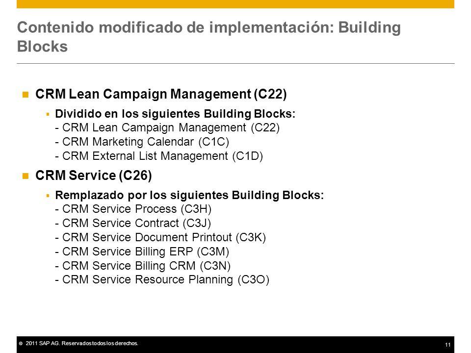© 2011 SAP AG. Reservados todos los derechos. 11 Contenido modificado de implementación: Building Blocks CRM Lean Campaign Management (C22) Dividido e