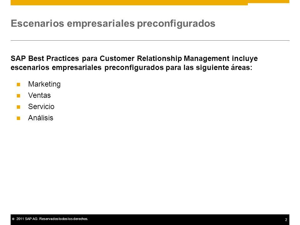 © 2011 SAP AG. Reservados todos los derechos. 2 Escenarios empresariales preconfigurados SAP Best Practices para Customer Relationship Management incl
