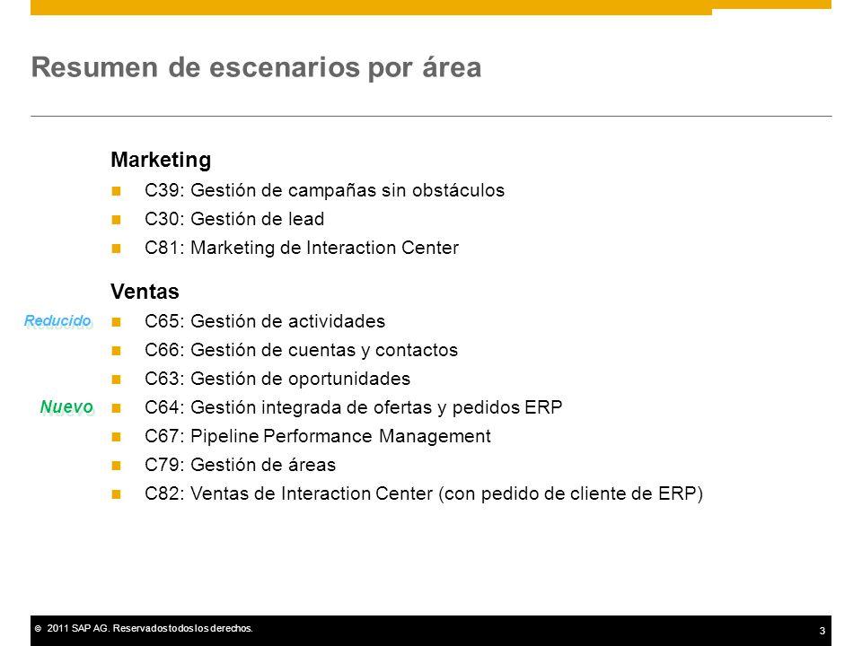 © 2011 SAP AG. Reservados todos los derechos. 3 Resumen de escenarios por área Marketing C39: Gestión de campañas sin obstáculos C30: Gestión de lead
