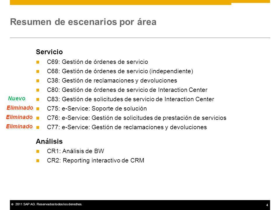© 2011 SAP AG. Reservados todos los derechos. 4 Resumen de escenarios por área Servicio C69: Gestión de órdenes de servicio C68: Gestión de órdenes de