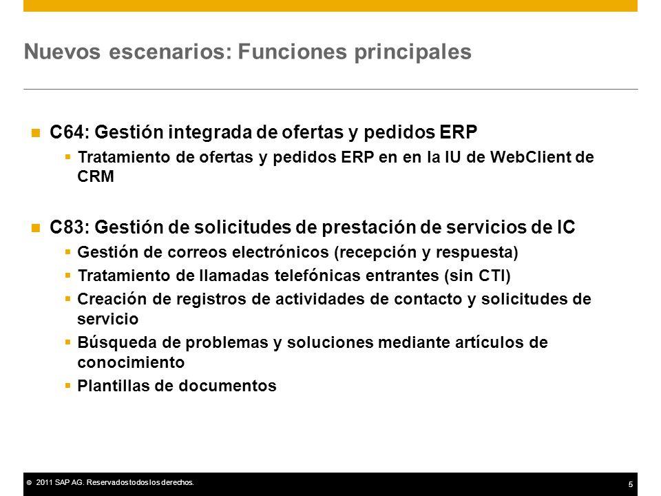 © 2011 SAP AG. Reservados todos los derechos. 5 Nuevos escenarios: Funciones principales C64: Gestión integrada de ofertas y pedidos ERP Tratamiento d