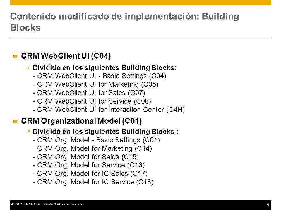 © 2011 SAP AG. Reservados todos los derechos. 9 Contenido modificado de implementación: Building Blocks CRM WebClient UI (C04) Dividido en los siguien