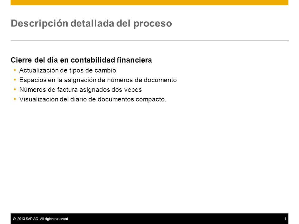 ©2013 SAP AG. All rights reserved.4 Descripción detallada del proceso Cierre del día en contabilidad financiera Actualización de tipos de cambio Espac
