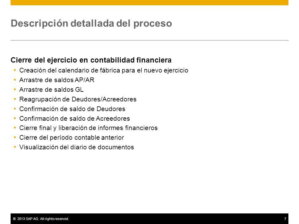 ©2013 SAP AG. All rights reserved.7 Descripción detallada del proceso Cierre del ejercicio en contabilidad financiera Creación del calendario de fábri