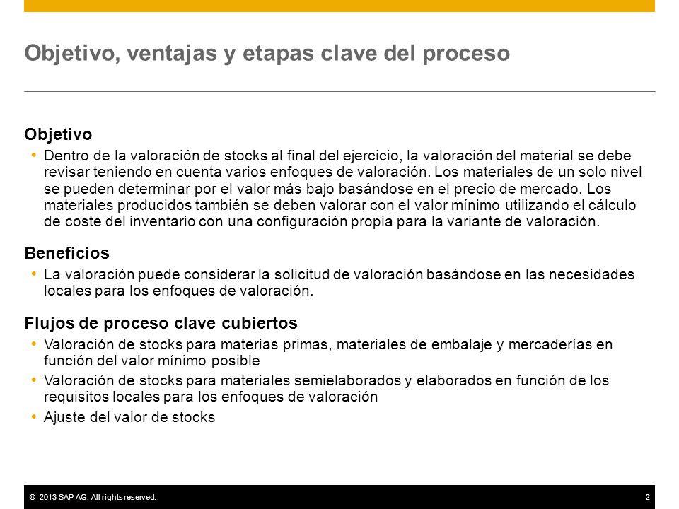 ©2013 SAP AG. All rights reserved.2 Objetivo, ventajas y etapas clave del proceso Objetivo Dentro de la valoración de stocks al final del ejercicio, l