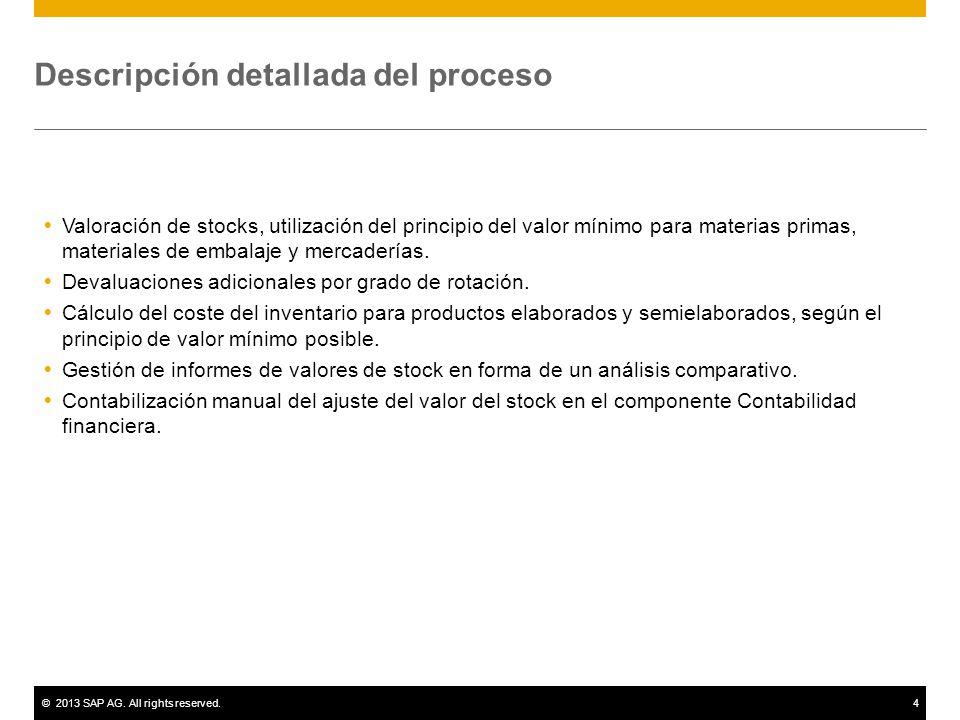 ©2013 SAP AG. All rights reserved.4 Descripción detallada del proceso Valoración de stocks, utilización del principio del valor mínimo para materias p