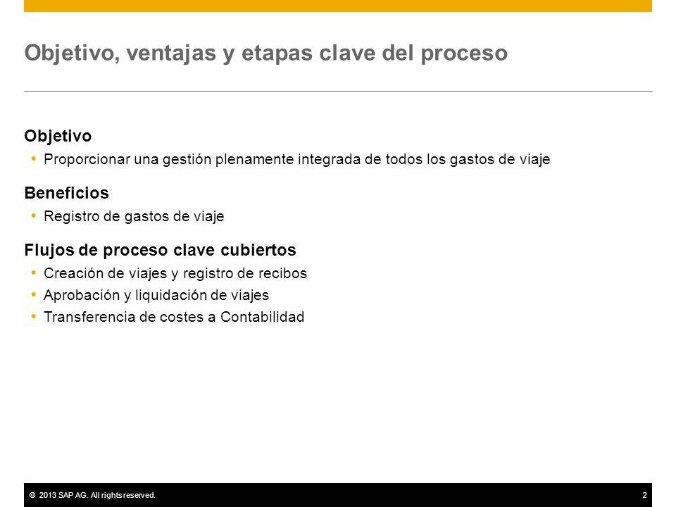 ©2013 SAP AG. All rights reserved.2 Objetivo, ventajas y etapas clave del proceso Objetivo Proporcionar una gestión plenamente integrada de todos los