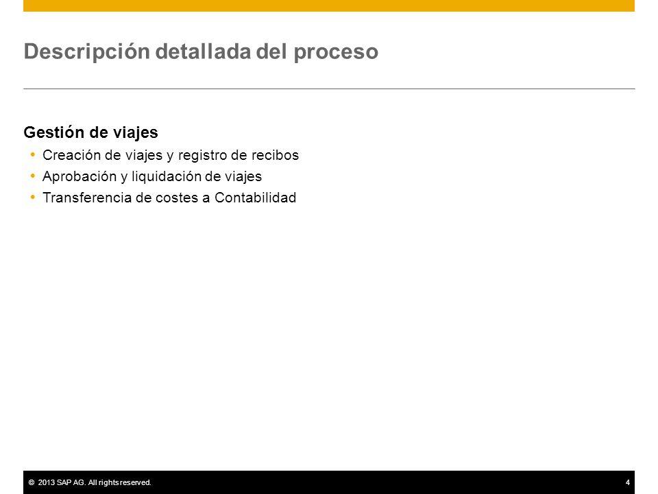 ©2013 SAP AG. All rights reserved.4 Descripción detallada del proceso Gestión de viajes Creación de viajes y registro de recibos Aprobación y liquidac