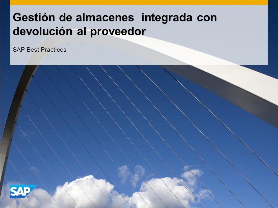 Gestión de almacenes integrada con devolución al proveedor SAP Best Practices