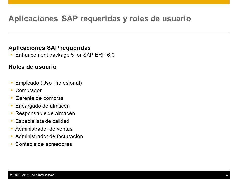 ©2011 SAP AG. All rights reserved.5 Aplicaciones SAP requeridas y roles de usuario Aplicaciones SAP requeridas Enhancement package 5 for SAP ERP 6.0 R