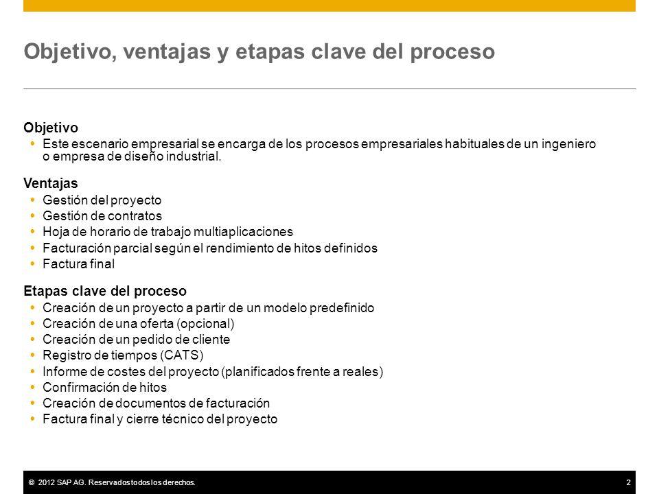 ©2012 SAP AG. Reservados todos los derechos.2 Objetivo, ventajas y etapas clave del proceso Objetivo Este escenario empresarial se encarga de los proc