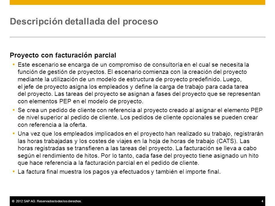 ©2012 SAP AG. Reservados todos los derechos.4 Descripción detallada del proceso Proyecto con facturación parcial Este escenario se encarga de un compr