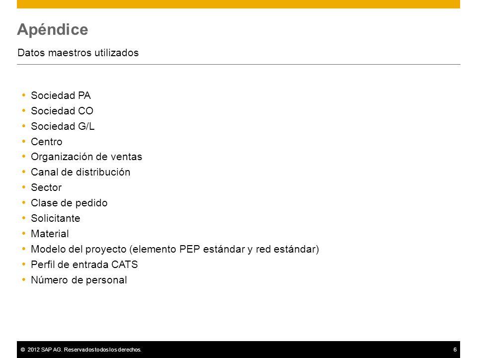 ©2012 SAP AG. Reservados todos los derechos.6 Apéndice Datos maestros utilizados Sociedad PA Sociedad CO Sociedad G/L Centro Organización de ventas Ca