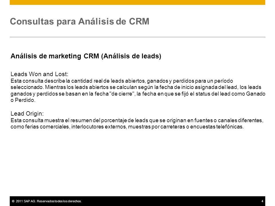 ©2011 SAP AG. Reservados todos los derechos.4 Consultas para Análisis de CRM Análisis de marketing CRM (Análisis de leads) Leads Won and Lost: Esta co
