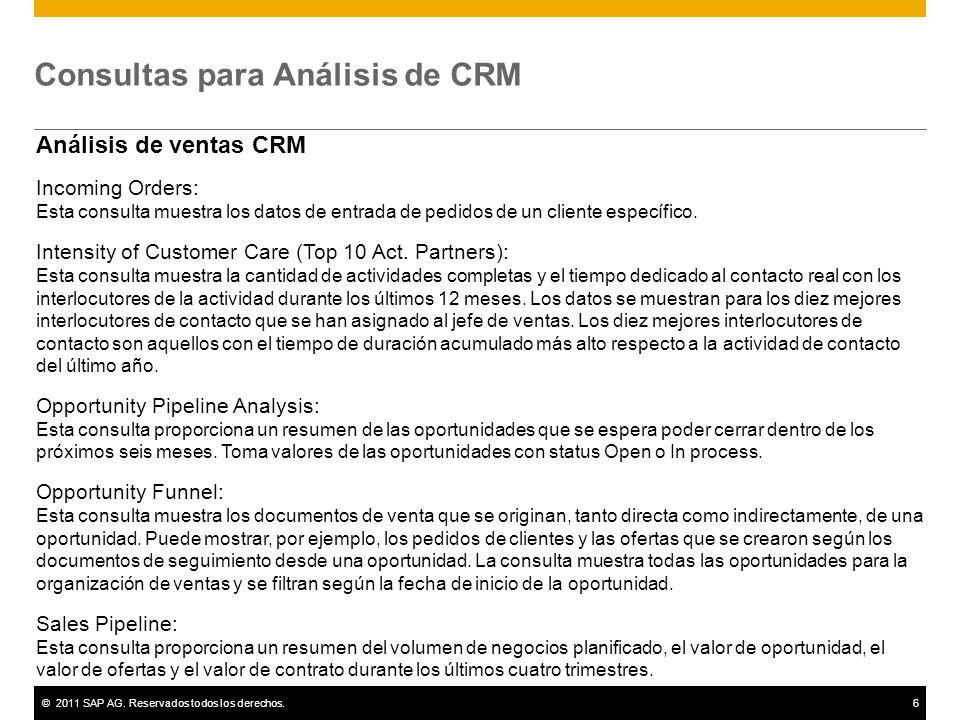 ©2011 SAP AG. Reservados todos los derechos.6 Consultas para Análisis de CRM Análisis de ventas CRM Incoming Orders: Esta consulta muestra los datos d