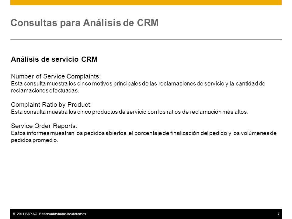 ©2011 SAP AG. Reservados todos los derechos.7 Consultas para Análisis de CRM Análisis de servicio CRM Number of Service Complaints: Esta consulta mues