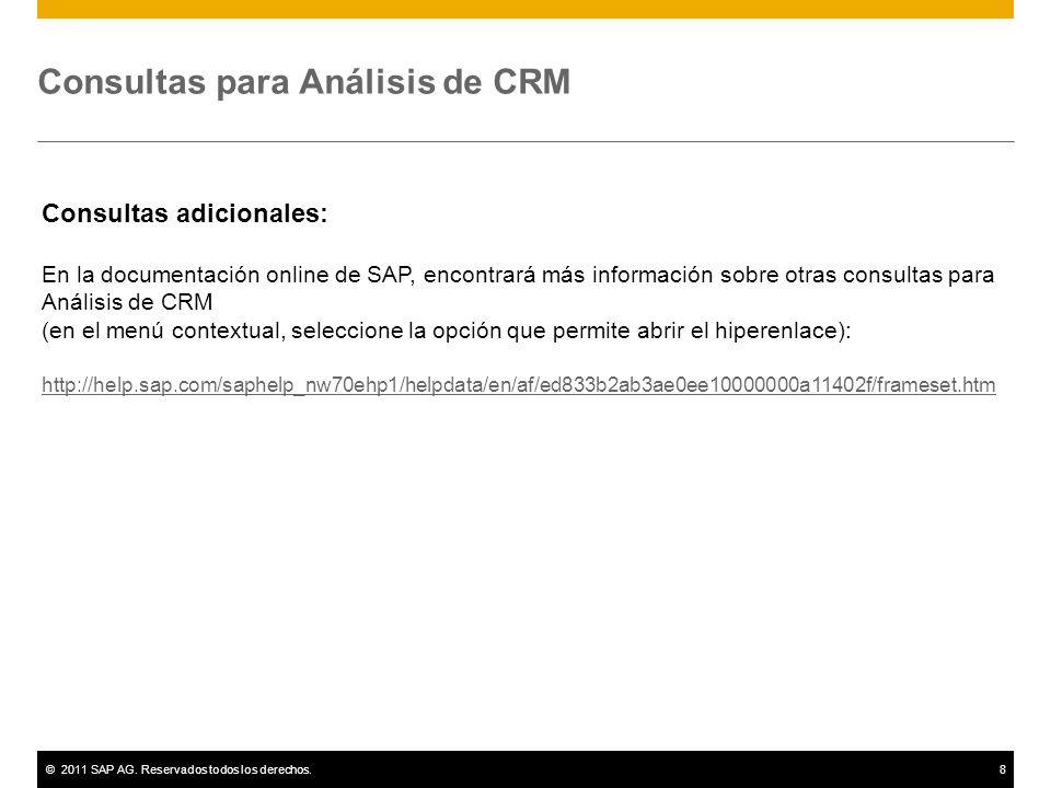 ©2011 SAP AG. Reservados todos los derechos.8 Consultas para Análisis de CRM Consultas adicionales: En la documentación online de SAP, encontrará más