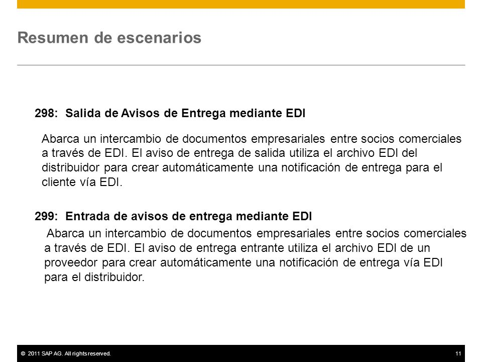 ©2011 SAP AG. All rights reserved.11 Resumen de escenarios 298: Salida de Avisos de Entrega mediante EDI Abarca un intercambio de documentos empresari