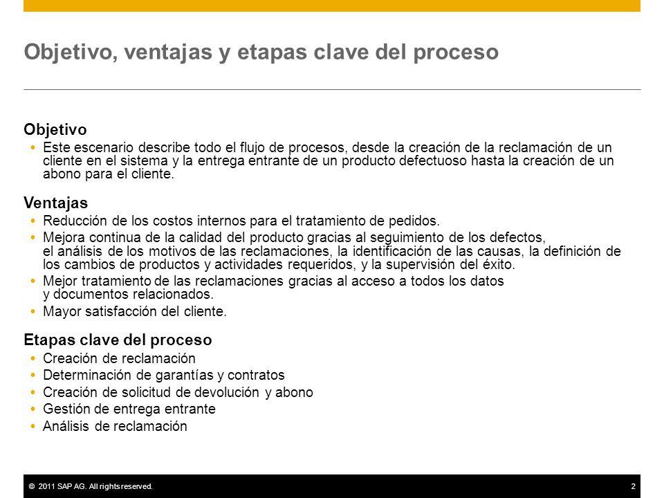 ©2011 SAP AG. All rights reserved.2 Objetivo, ventajas y etapas clave del proceso Objetivo Este escenario describe todo el flujo de procesos, desde la