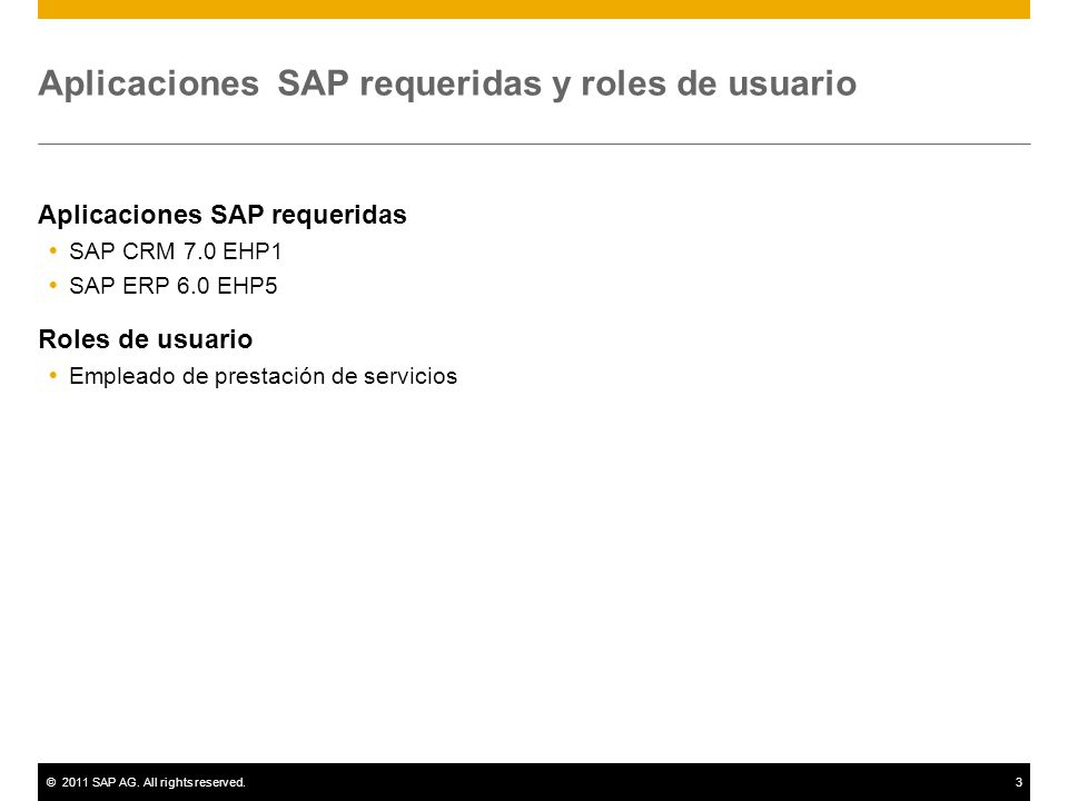 ©2011 SAP AG. All rights reserved.3 Aplicaciones SAP requeridas y roles de usuario Aplicaciones SAP requeridas SAP CRM 7.0 EHP1 SAP ERP 6.0 EHP5 Roles