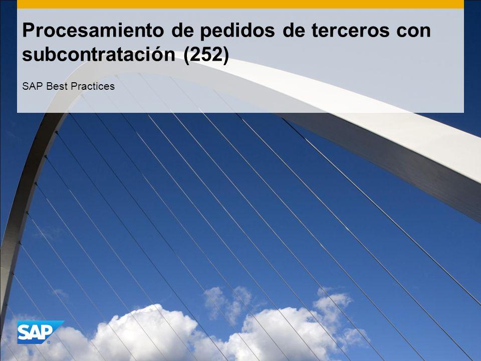 Procesamiento de pedidos de terceros con subcontratación (252) SAP Best Practices