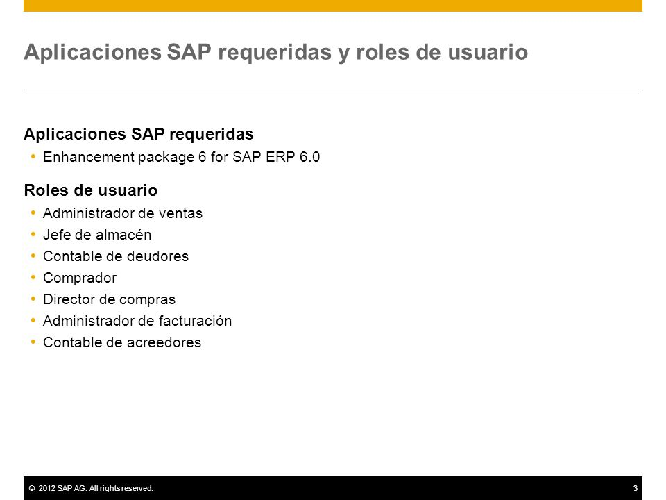 ©2012 SAP AG. All rights reserved.3 Aplicaciones SAP requeridas y roles de usuario Aplicaciones SAP requeridas Enhancement package 6 for SAP ERP 6.0 R