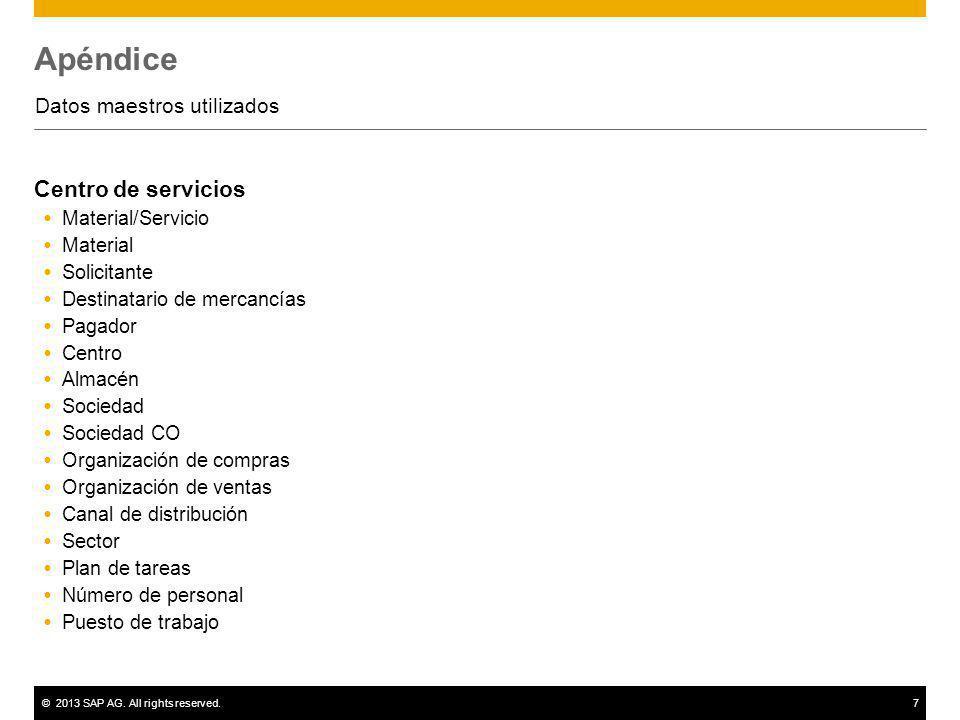 ©2013 SAP AG. All rights reserved.7 Apéndice Datos maestros utilizados Centro de servicios Material/Servicio Material Solicitante Destinatario de merc