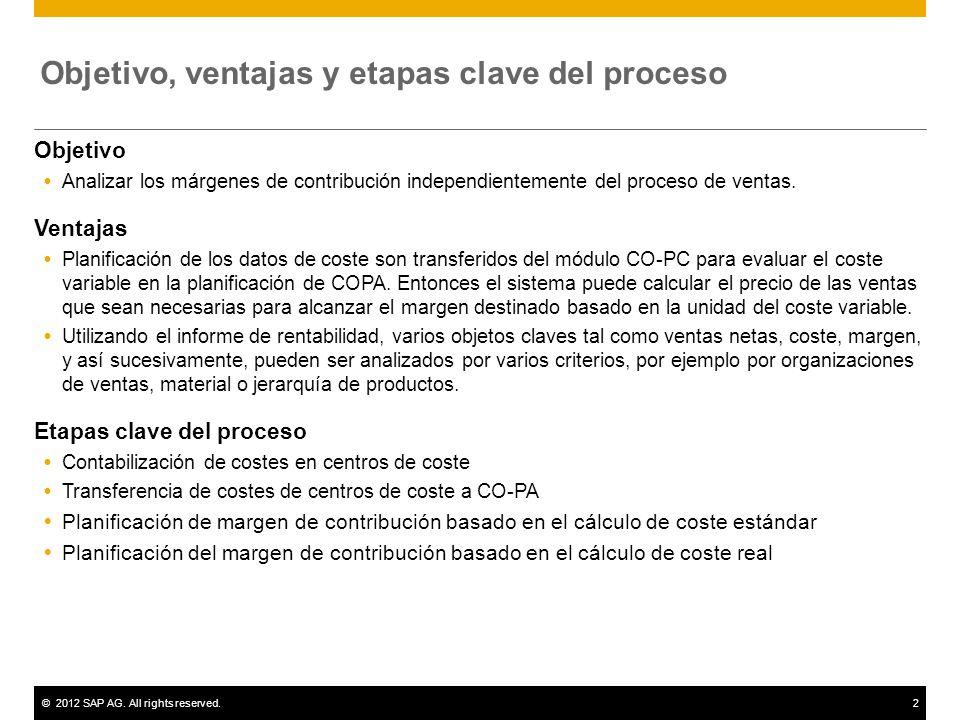 ©2012 SAP AG. All rights reserved.2 Objetivo, ventajas y etapas clave del proceso Objetivo Analizar los márgenes de contribución independientemente de