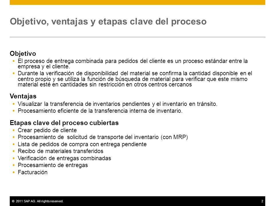 ©2011 SAP AG. All rights reserved.2 Objetivo, ventajas y etapas clave del proceso Objetivo El proceso de entrega combinada para pedidos del cliente es